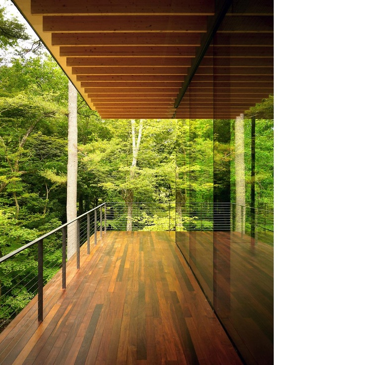 Nature friendly Japanese Architecture.  Sliding glass doors like this on the balcony around the house..different take on traditional doors.
