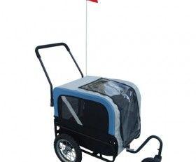 Cette remorque pour chien est transformable en voiturette grâce au kit jogging ! L'assemblage et le démontage sont très rapides, aucun outil n'est nécessaire ! Adaptable à tous les modèles de vélos grâce au crochet de rechange. Accrochage léger et compatible pour ne pas abîmer le cadre du vélo, Couleur :Gris / Bleu, Matériau: 100% polyester, 100% PVC(fenêtre), Housse de protection contre la pluie et projections, Pneus gonflables avec fixation rapide,