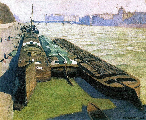 Felix Vallotton (1865-1925): Barges on the banks of the Seine