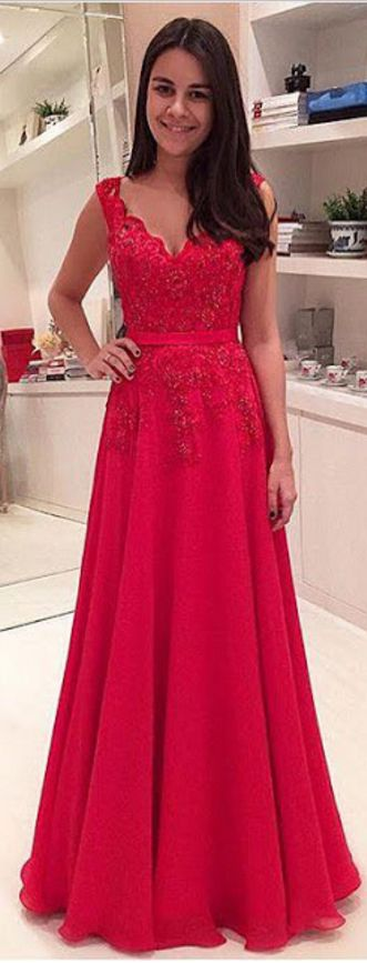 Long Prom Dress, Red Prom Dress, Ch