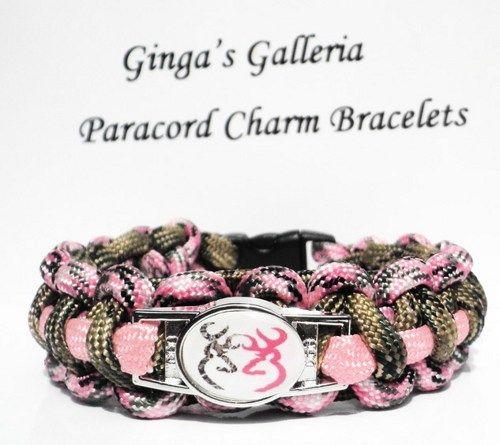Green Camo Pink Browning Buck Cobra Paracord Bracelet | gingasgalleria - Jewelry on ArtFire