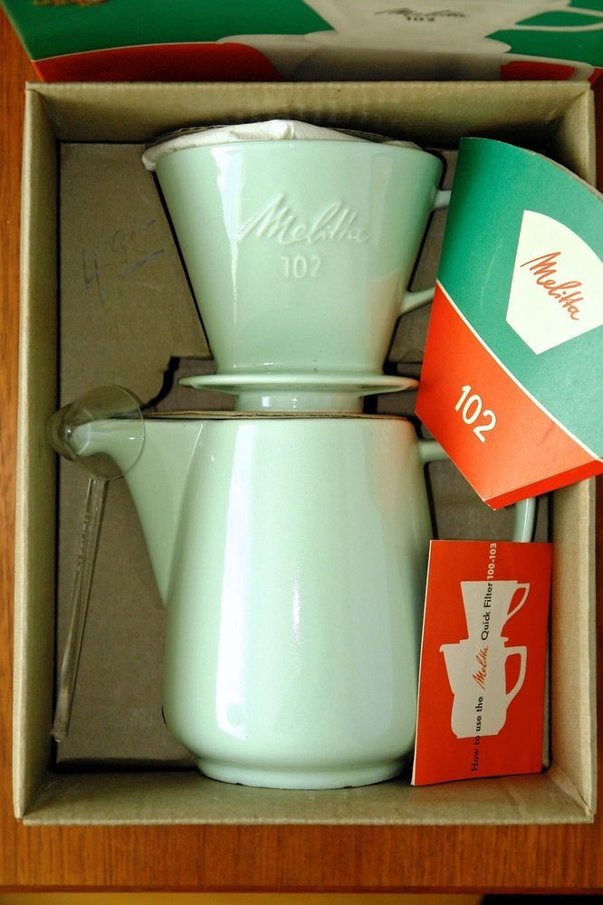 NEW OLD STOCK rare MINT GREEN MELITTA DRIP COFFEE MAKER 4 cups pot & 102 basket #melitta