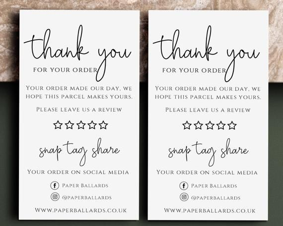 Thank You For Your Order Cards Please Leave A Review Card Snap Tag Share Cards Business Stationery Personalised Thank You Thank You Card Design Business Thank You Cards Thank You Customers
