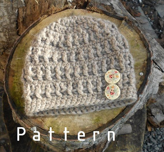 Crochet pattern-for the Mucus Light Brown Hat with Buttons Toddler/Children/Adults/Woman