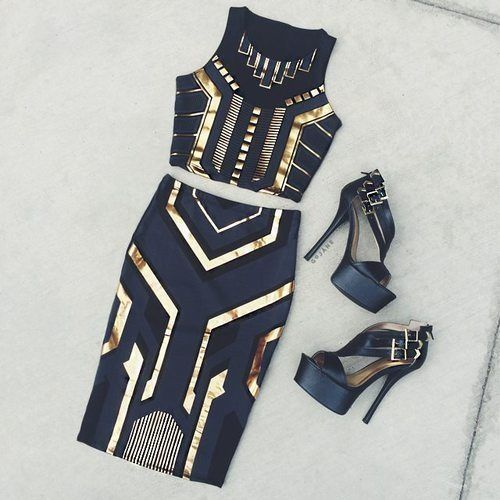Co-ords navy with gold embellishment l Vogue Club