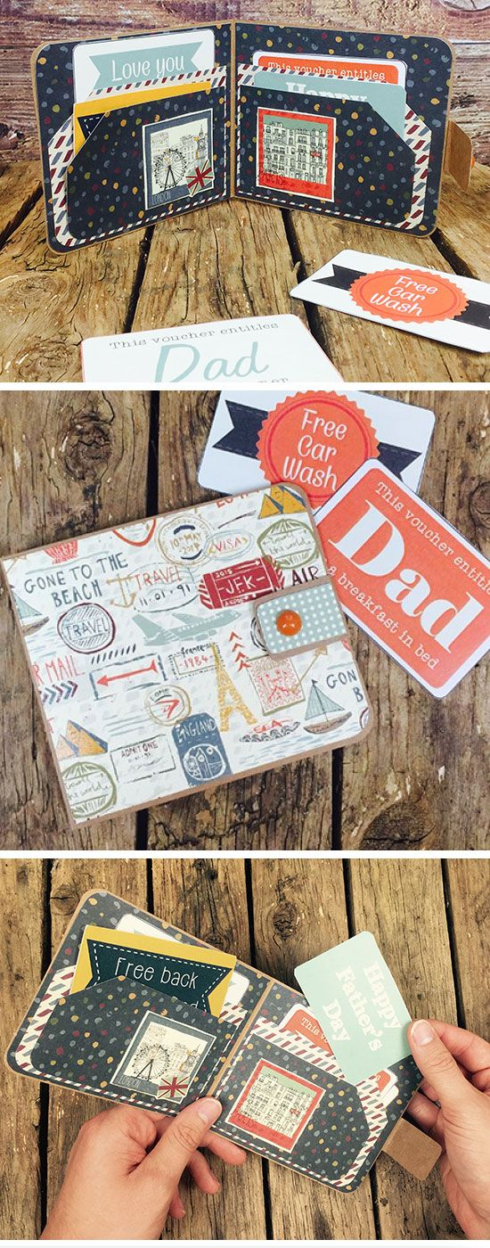 Handmade Wallet & Free Printable Vouchers | Easy Fathers Day Crafts for Kids to Make | DIY Birthday Gifts for Dad from Kids
