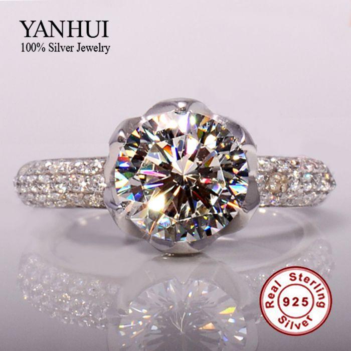 Réel Solide 925 En Argent Sterling Anneaux De Mariage Pour Les Femmes Romantique En Forme de Fleur Inlay 3 Carat CZ Diamant Bague de Fiançailles En Gros