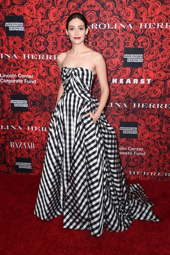 """Shameless"" star Emmy Rossum stunned in a black-and-white checkered gown at An Evening Honoring Carolina Herrera."