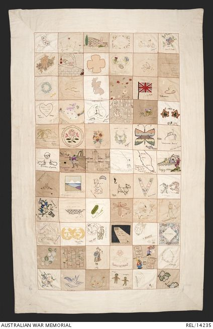 Embroidered Australian Changi quilt by female internees, Changi Prison. 1942. Quilt made up of 66 embroidered squares. The back of the quilt has red embroidery stating 'Presented by the women of Changi internment camp 1942 to the wounded Australian soldiers with our sympathy for their suffering. It is our wish that on the cessation of hostilities that this quilt be presented to the Australian Red Cross Society...'  Link to see squares.