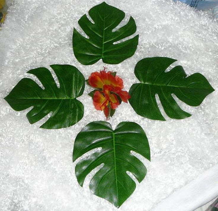 36 Large TROPICAL LEAVES Wedding Luau Tropical Safari Party Decorations 3 Dozen #FunExpress #TropicalLuauparty #Decorations