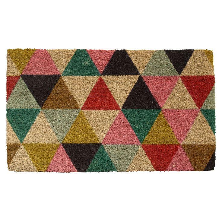 Colours Lami Multicolour Geometric Coir Door Mat (L)0.75m (W)450mm   Departments   DIY at B&Q