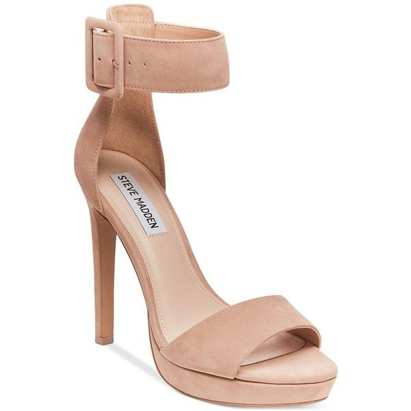Steve Madden Circuit Two-Piece Sandals (2 565 UAH) ❤ liked on Polyvore featuring shoes, sandals, tan nubuck, strappy platform sandals, tan strappy sandals, tan high heel sandals, high heel platform sandals and high heel platform shoes