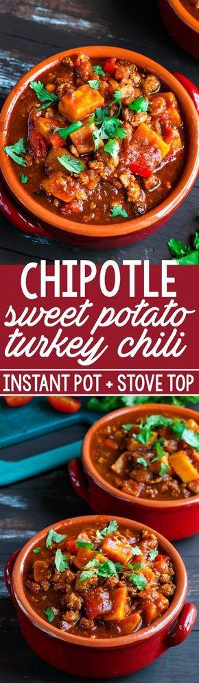 Smoky Chipotle Turkey and Sweet Potato Chili #InstantPot + Stove Top #pressurecooker #chili #recipe