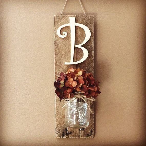 Initial Mason Jar Wall Sconce, Mason Jar Decor, Wall Hanging Sconce, Mason Jar Wall Decor, Rustic Home Decor, Home&Living, Rustic Decor,gift