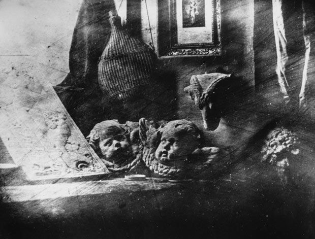 Louis Jacques Daguerre's first surviving daguerreotype image, of a collection of plaster casts on a window ledge, which he produced on a silver plate, in 1837