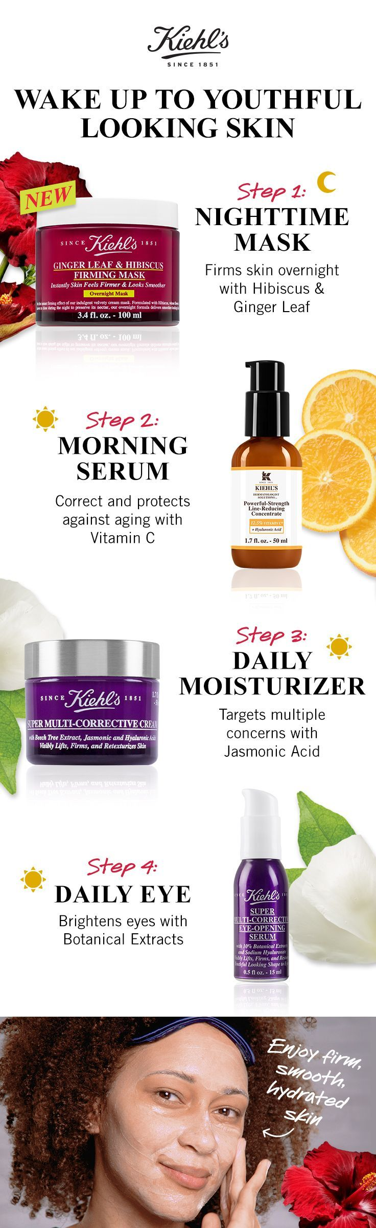 Kiehl's Overnight Firming Mask is the next step in your nighttime anti-aging skin care routine. Learn how to apply: use at night time before your morning serum and daily moisturizers to reveal firmer, younger looking skin. #morningskincareroutine