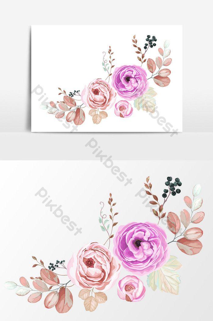 Hand Drawn Cartoon Flat Purple Pink Floral Element Pikbest Graphic