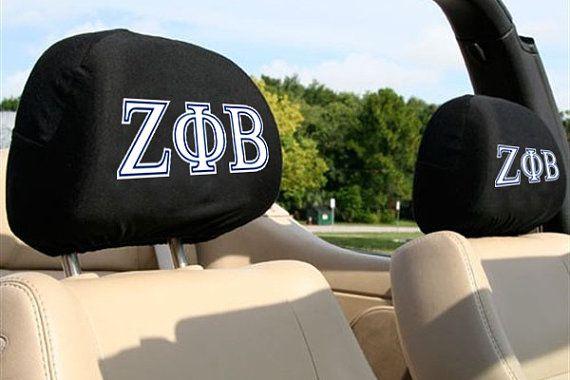 Zeta Phi Beta Sorority Auto SUV Head Rest Covers by WEGOTPULL