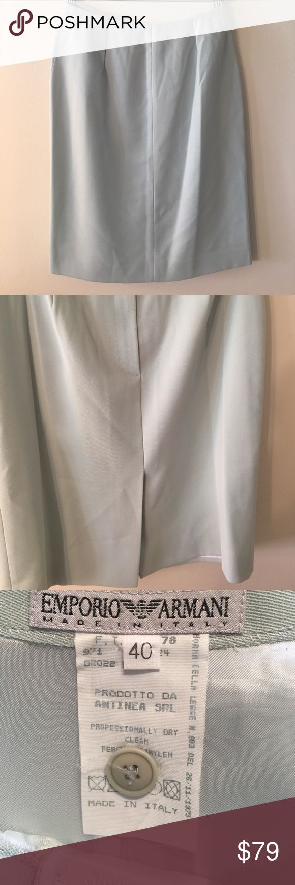 ⭐️EMPORIO ARMANI SKIRT 💯AUTHENTIC EMPORIO ARMANI LOVELY SKIRT 100% AUTHENTIC. STUNNING AND STYLISH ALWAYS ON TREND. THE SKIRT IS A EUROPEAN 40 WHICH CONVERTS TO A SIZE 8 . THE COLOR IS PALE GREEN. REAR ZIPPER. THE HIP MEASUREMENT IS 19 INCHES WIDE AND 38 INCHES AROUND. THE LENGTH IS 21 INCHES FROM TOP TO BOTTOM Emporio Armani Skirts