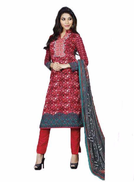 NS11871 A Red Color Cotton Designer Suit