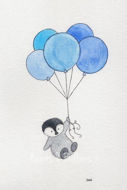 Childrens art Penguin watercolour painting by heartsandballoons