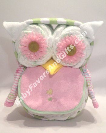 Kooky-owl Diaper Cake - Baby Girl Diaper Cakes - baby shower gift ideas by Wendy sWilliams