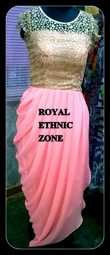STYLE NO. REZ 236 BABY PINK ONE PIECE DRESS PRICE- 8000/- FABRIC- GEORGETTE, GOLDEN BROCADE EMBROIDERY- HAND WORK, LACE WORK