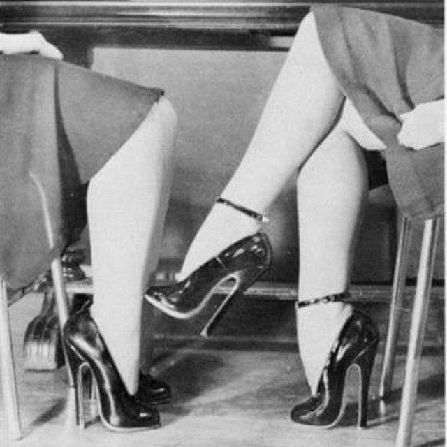 High cute vintage wearing vintage-style heel