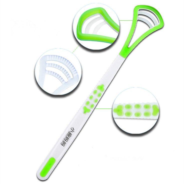 Fresh Breath Tongue Scraper Tongue Cleaner Brush Dental Tongue Cleaning Scraper Brush Oral Hygiene 1 Piece 4 Color