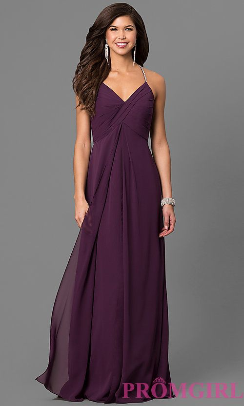 Image of empire-waist eggplant purple prom dress with v-neck. Style: BJ-BC-1723 Front Image