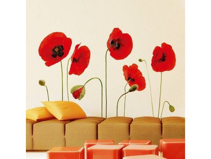 Wandtattoo Mohnblumen Wall Stickers Red Red Poppies Blue Wall Stickers