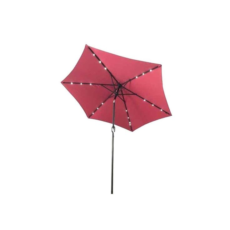 Aleko 9-foot Lighted Tilting Outdoor Solar LED Patio Table Umbrella, Red Burgundy (Polyester) #UMB9L18BG-AO