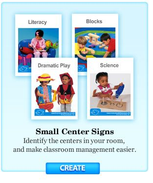 Free PreK/K Classroom label maker, center signs and more.  Login required.