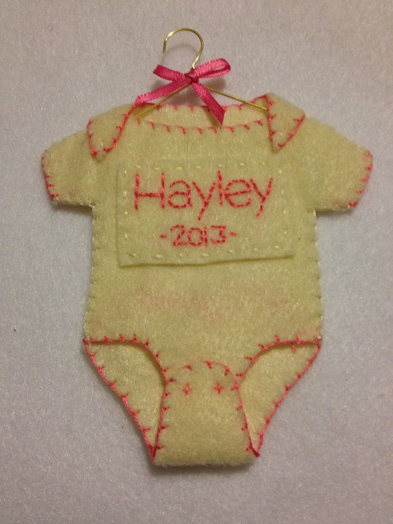 Felt Baby's Christmas Ornament with Name and by JDimperfections