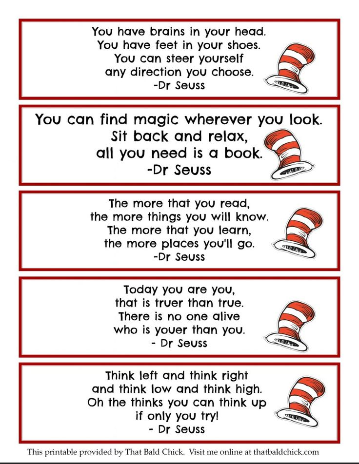 Printable Dr Seuss Quote Bookmarks Thatbaldchick