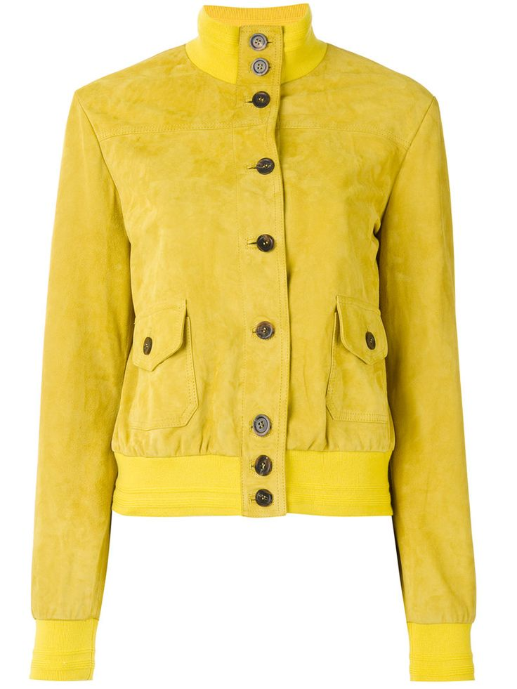 ¡Cómpralo ya!. Simonetta Ravizza - Band Collar Bomber Jacket - Women - Cupro/Goat Suede - 42. Yellow goat suede band collar bomber jacket from Simonetta Ravizza. This item is true to fit. Size: 42. Color: Yellow/orange. Gender: Female. Material: Cupro/Goat Suede. , chaquetadecuero, polipiel, biker, ante, antelina, chupa, decuero, leather, suede, suedette, fauxleather, chaquetadecuero, lederjacke, chaquetadecuero, vesteencuir, giaccaincuio, piel. Chaqueta de cuero  de mujer color…