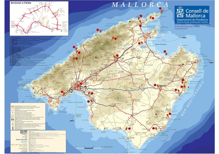 Map of Mallorca with all important sightseeings