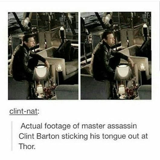 Actual footage of master assassin Clint Barton sticking his tongue out at Thor