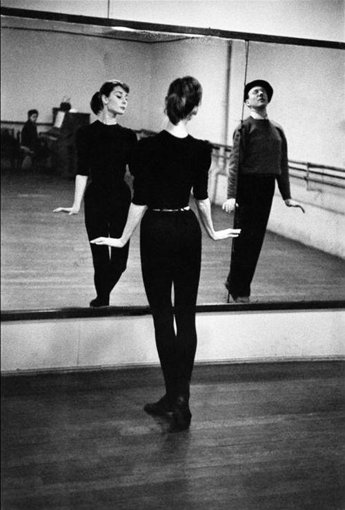 Rare Audrey Hepburn — Audrey Hepburn with ballet coach Lucien Legrand,...
