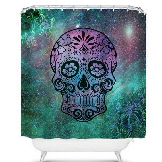 Sugar Skull Shower Curtain Unique decor for your bathroom Made of 71 x 74 softened polyester, your fabric shower curtain comes ready to hang with twelve stitch-enforced eyelets (shower hooks not included). Machine washable, no bleach please.  ****Please make sure Etsy has your correct shipping address. We ship to the address provided by Etsy when you make payment. If we do not have the correct address and its shipped to the wrong address we are not responsible *****
