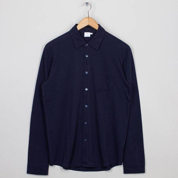 Long Sleeve Pique Shirt - Navy | Sunspel | Peggs & son.