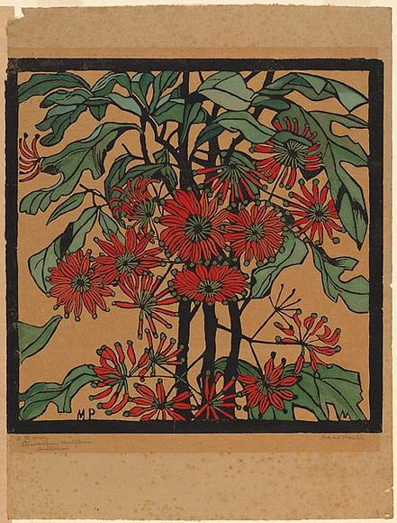 Artist: PRESTON, Margaret | Title: Wheelflower. | Date: 1929 | Technique: woodcut, printed in black ink, from one block; hand-coloured | Copyright: © Margaret Preston. Licensed by VISCOPY, Australia