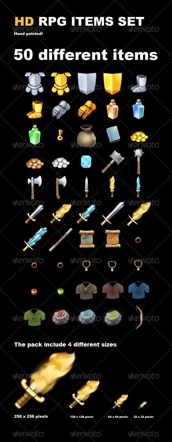 Videogame graphic. Rpg items high definition