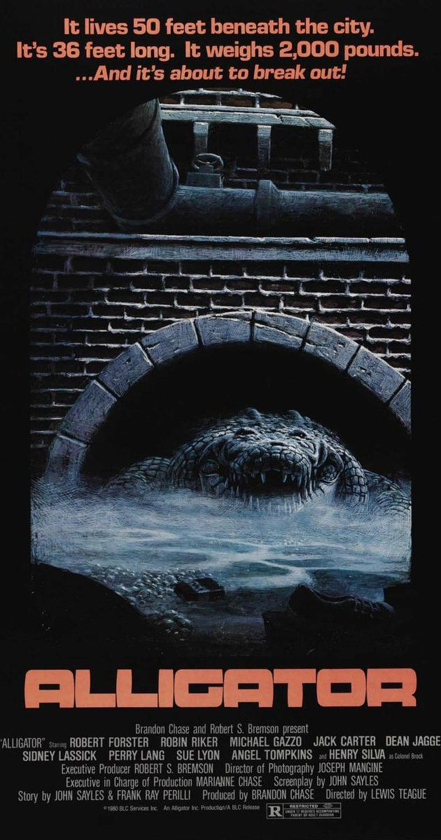 Directed by Lewis Teague. With Robert Forster, Robin Riker, Michael V. Gazzo, Dean Jagger. A baby alligator is flushed down a Chicago toilet and survives by eating discarded laboratory rats injected with growth hormones. The small reptile grows gigantic, escapes the city sewers, and goes on a rampage.