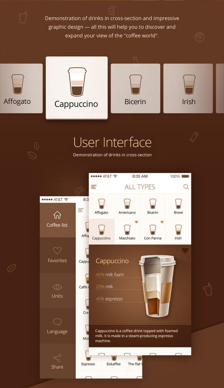 카페 관련 레이아웃 어플이다 커피원두와 연관된 칼라를 사용하여 어느정도 연관성을 부여했고 커피어이콘을 통해 의미를 확실히 표현했다.