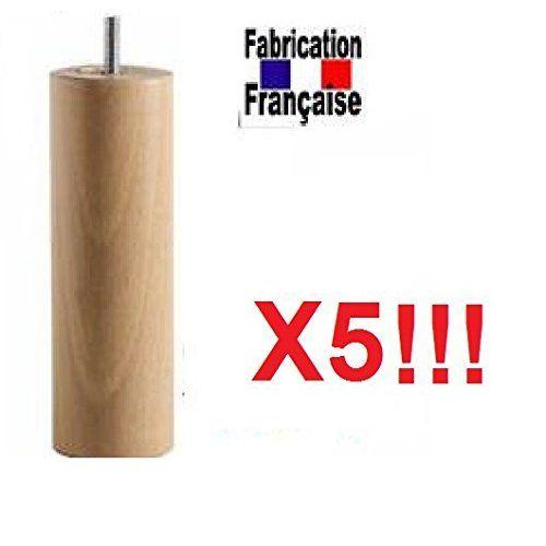 Pied lit 25 cm naturel plusieurs types de fixation (Cadre Sommier métallique)
