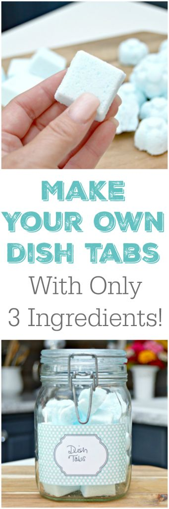 3 Ingredient Homemade Dish Tablets Recipe - Make easy and inexpensive dish tabs in minutes with a few household ingredients. This cleaning hack will leave your dishes sparkling clean!
