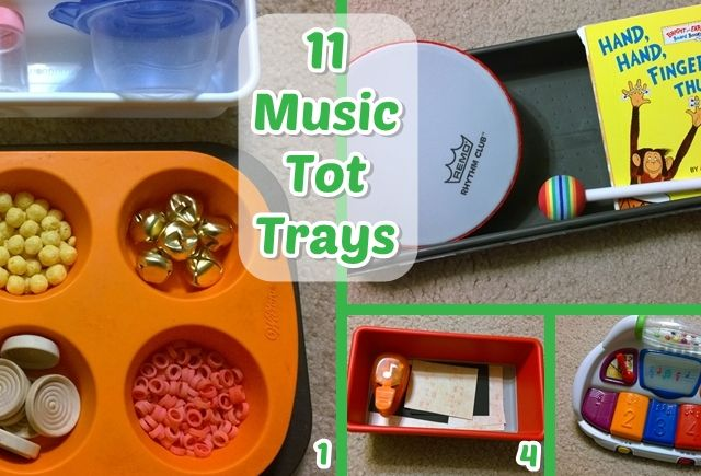 Even young ones can learn about music with the help of our 11 Music Tot Trays! We use existing toys and instruments to learn from, and even make our own!