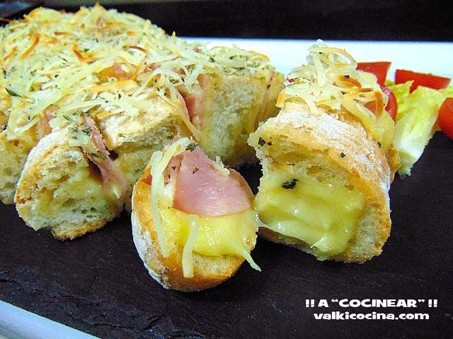 Receta de Pan relleno de jamón cocido y queso   Eureka Recetas