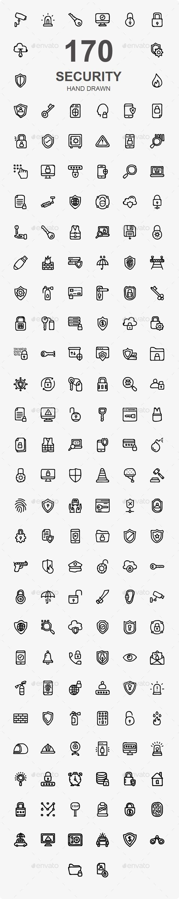 150+ Security Hand Drawn Icons